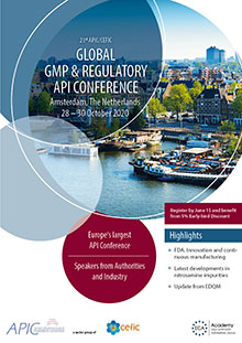 23rd APIC/CEFIC Global GMP & Regulatory API Conference 2020 - GMP Part