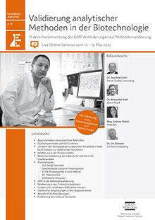 Live Online Seminar: Validierung analytischer Methoden in der Biotechnologie (A 16)