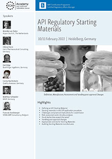 API Regulatory Starting Materials<br>Im Auftrag der ECA Academy