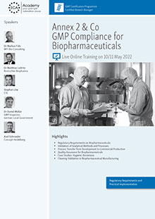 Live Online Training: Annex 2 + Co. - GMP Compliance for Biopharmaceuticals<br>Im Auftrag der ECA Academy