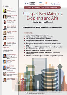 Biological Raw Materials, Excipients and APis - An ECA, EBE and APIC Joint Conference<br>Im Auftrag der ECA Academy