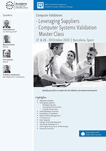 Computer Validation: Leveraging Suppliers + Computer Systems Validation Master Class<br>Im Auftrag der ECA Academy
