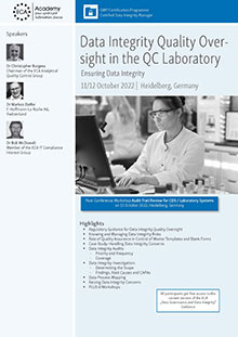 Data Integrity Quality Oversight in the QC Laboratory AND Workshop Audit Trail Review for CDS/Laboratory Systems<br>Im Auftrag der ECA Academy