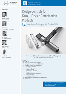 Live Online Training: Design Controls for Drug - Device Combination Products<br>im Auftrag der ECA Academy