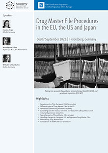 Drug Master File Procedures in the EU, the US and Japan<br>Im Auftrag der ECA Academy