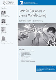 GMP for Beginners in sterile manufacturing + Process Simulation<br>Im Auftrag der ECA Academy