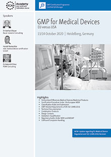 GMP for Medical Devices<br>Im Auftrag der ECA Academy