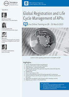 Live Online Training: Global registration and Life Cycle Management of APIs<br>Im Auftrag der ECA Academy