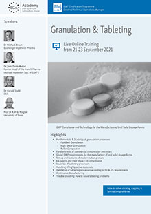 Live Online Training: Granulation & Tableting<br>Im Auftrag der ECA Academy