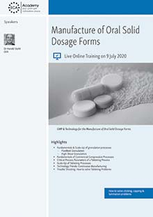 Live Online Training - Manufacture of Oral Solid Dosage Forms<br>Im Auftrag der ECA Academy