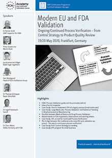 Modern EU and FDA Validation: Ongoing/Continued Process Verification – from the Control Strategy to Product Quality Review<br>Im Auftrag der ECA Academy