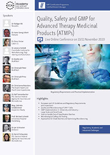 Live Online Conference: Quality, Safety and GMP for Advanced Therapy Medicinal Products (ATMPs)<br>Im Auftrag der ECA Academy