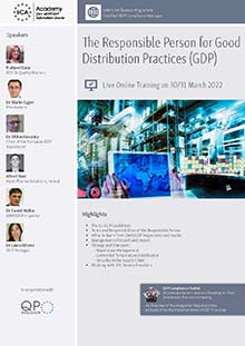 Live Online Training: The Responsible Person for Good Distribution Practice (GDP)<br>Im Auftrag der ECA Academy