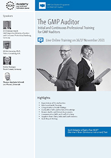 The GMP Auditor<br>Initial and Continuous Professional Training for GMP Auditors<br>Im Auftrag der ECA Academy