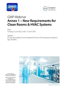 Webinar Reihe Annex 1 - New Requirements for Clean Rooms & HVAC Systems<br>Im Auftrag der ECA Academy