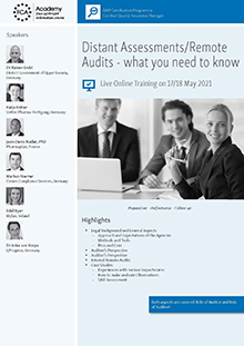 Live Online Training: Distant Assessments/ Remote Audits - what you need to know<br>Im Auftrag der ECA Academy