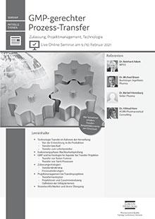 Live Online Seminar: GMP-gerechter Prozess-Transfer