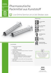 Live Online Seminar: Pharmazeutische Packmittel aus Kunststoff (PM 3)
